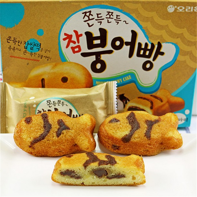 South korean imports of orion fight fish cake carp type 174g rice cake snack cake pie pastry snack food