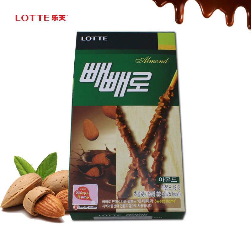 South korean imports zero food lotte lotte flat peach almond chocolate chocolate bars cripswho mandasi green stick 32g