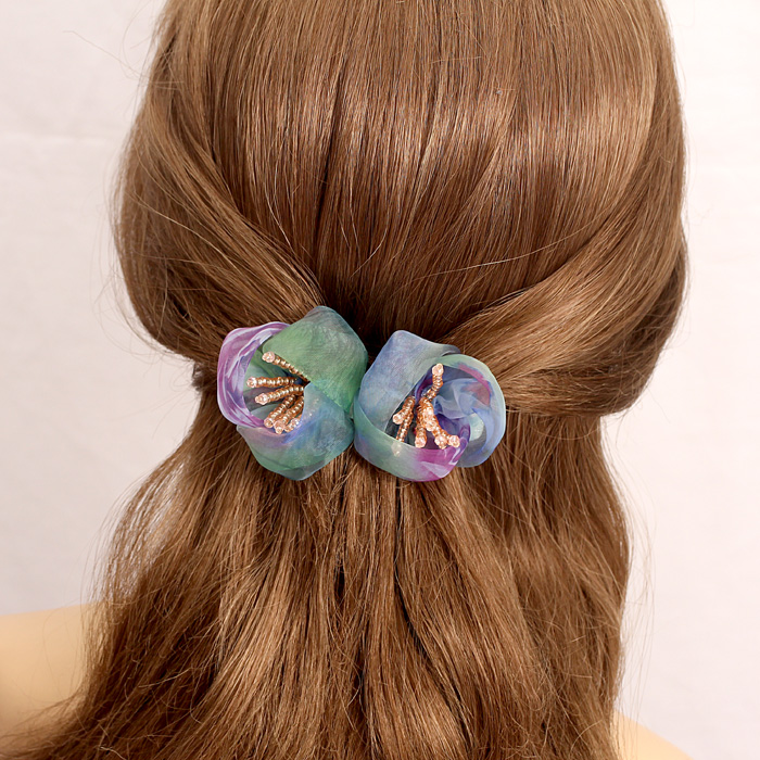 South korean silk yarn flower hairpin headdress korean dish made hairpin crystal character clip banana clip cross clip hair accessories