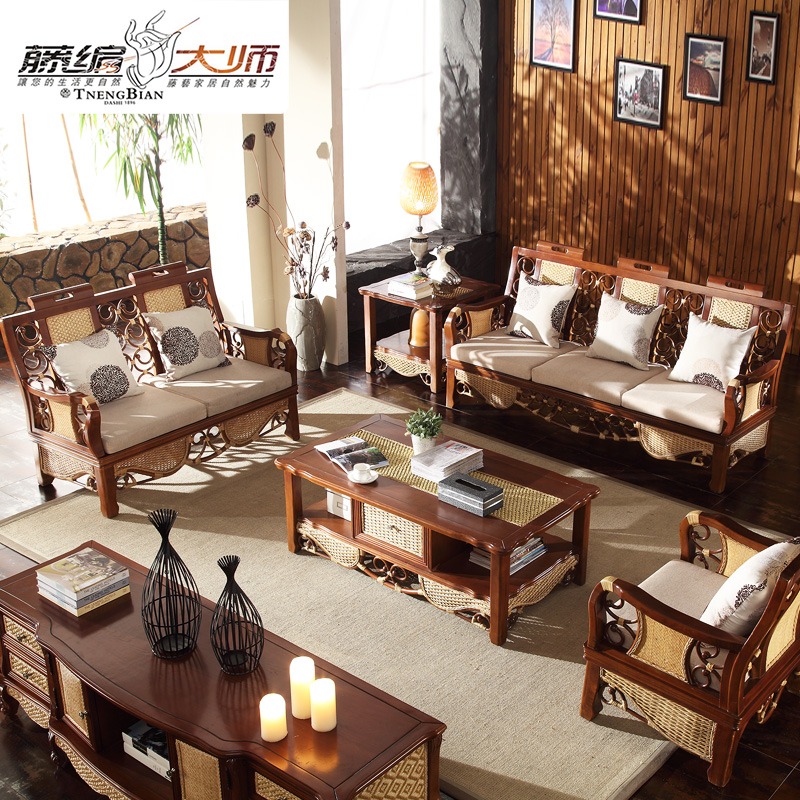 Southeast rattan sofa rattan sofa rattan wicker chair wujiantao combination living room sofa rattan sofa rattan wood furniture