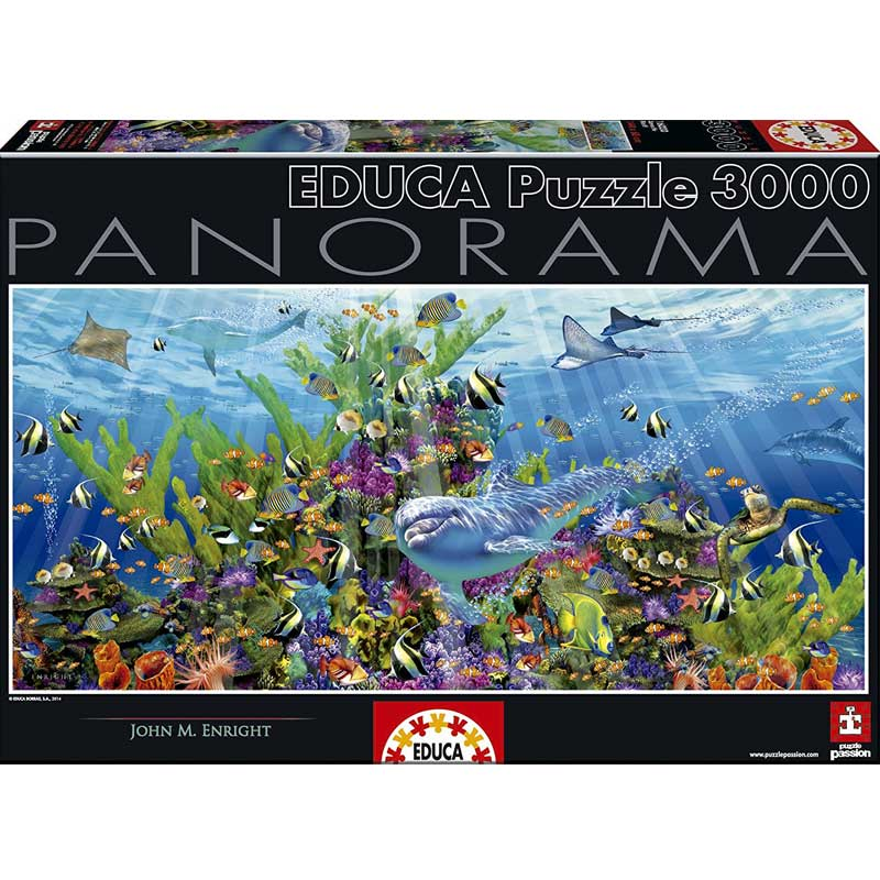 Spanish imports educação adult panoramic jigsaw puzzle 3000 underwater world 16020