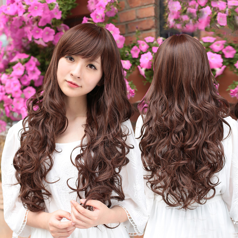 [Special] bai america square wig female fluffy big wave of long curly hair wig lifelike korean sweet oblique bangs wig