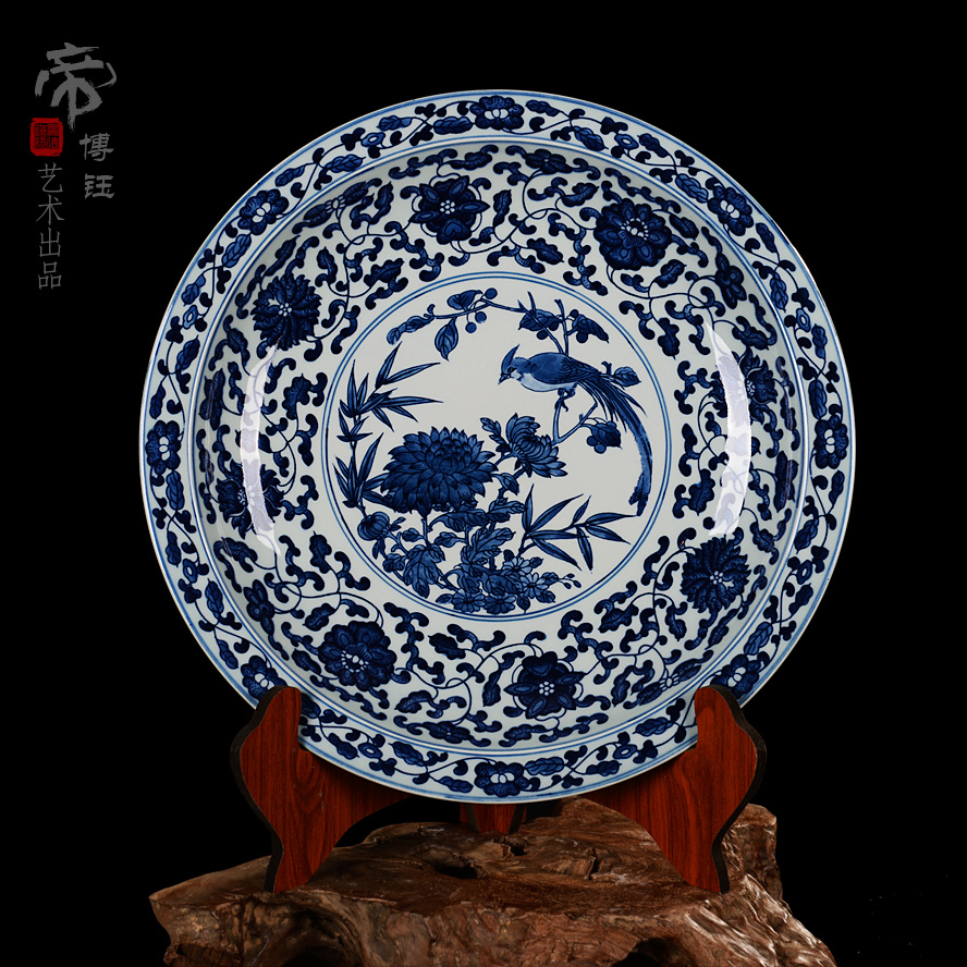 Special jingdezhen ceramics boutique painted antique blue and white porcelain plate hanging plate sit plate decorative plate wall hanging home
