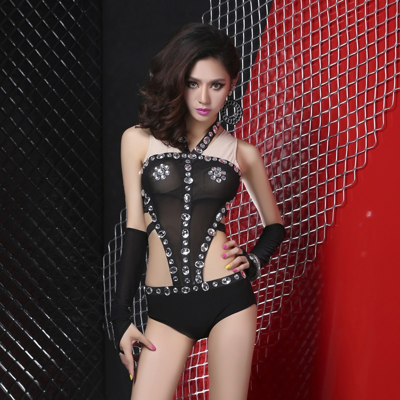 Special offer! the new dj bar night games ds lead dancer sexy perspective rhinestone costumes performance clothing lead dancer clothes even body