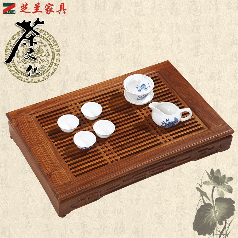 Special small tea tray tea tray with wood tea tray large rectangular single household portable kung fu tea electromagnetic stove special price