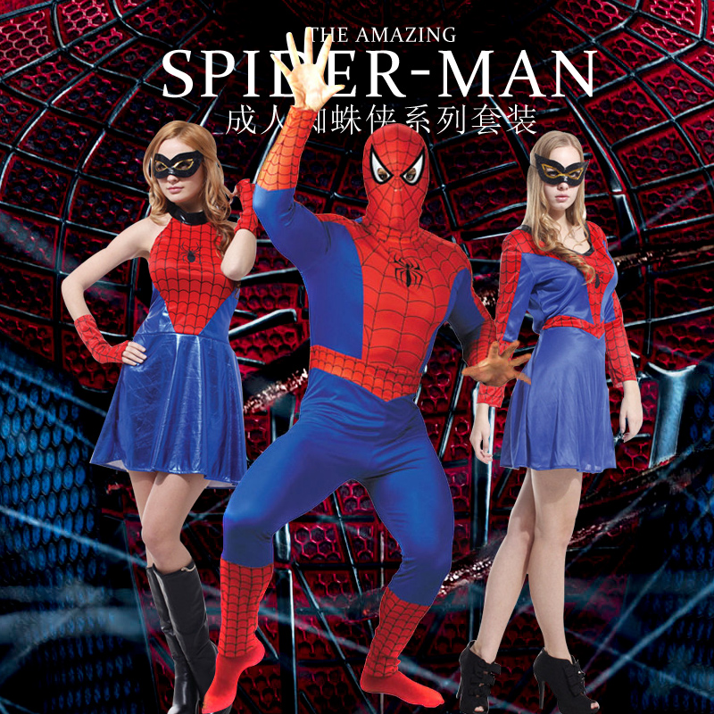 Spiderman halloween costume adult male and female clothing cospl masquerade ay tights costumes