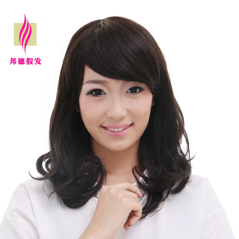 Sponder 100% real hair wigs real hair wig entire top female wig hair volume pear head oblique liu haibo waves