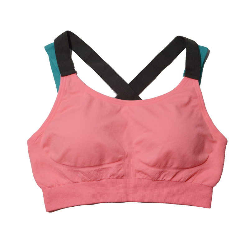 Sports bra girls gather thin section no rims shockproof running fitness yoga vest big yards underwear