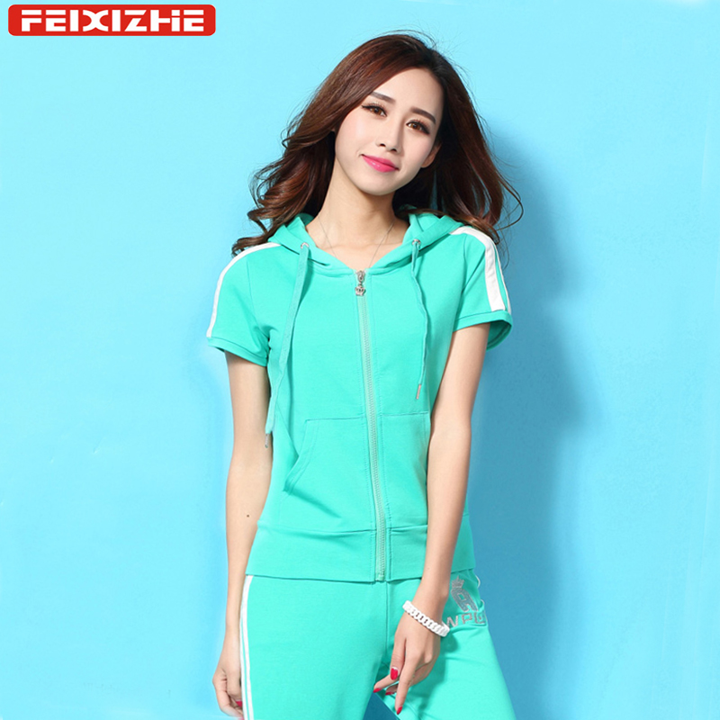 Sports suit female summer 2016 summer new korean version of slim sports sweater suit female sports suit female summer