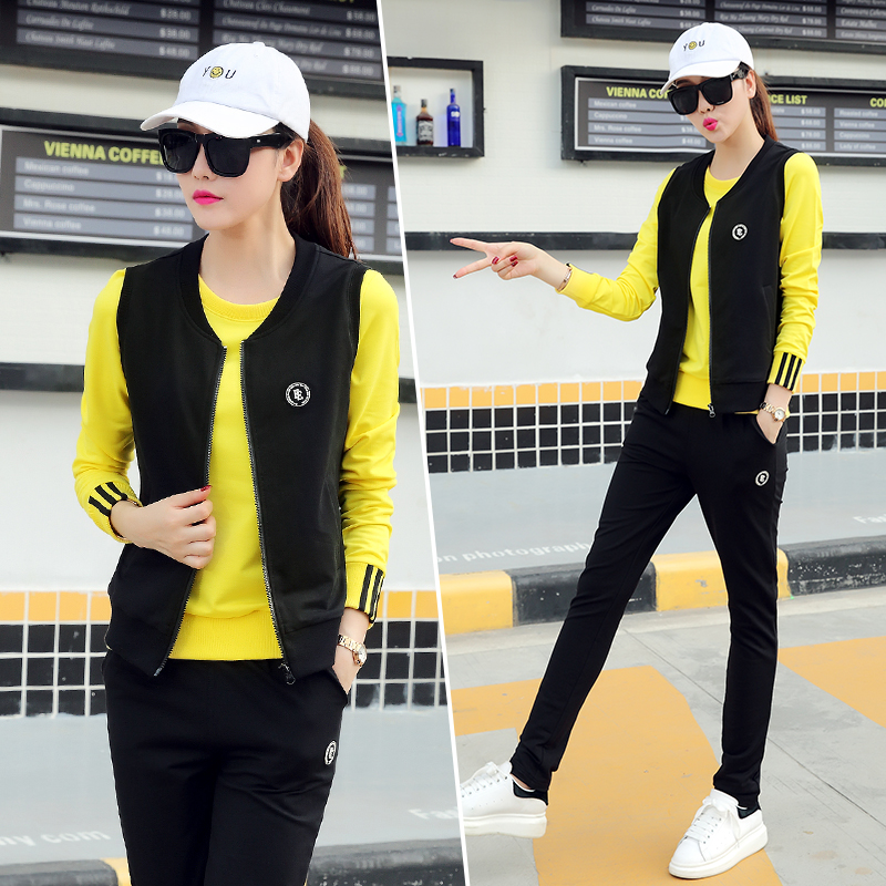Sports three sets of 2016 when shang new autumn ladies long sleeve leisure suit female spring and autumn ladies sportswear tide