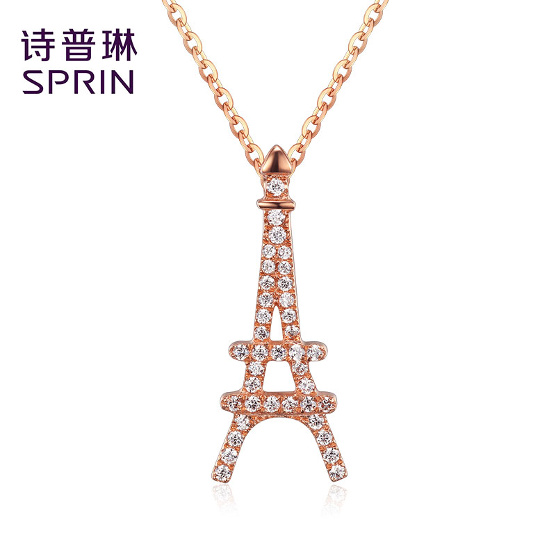 Sprin/poetry joplin eiffel tower jewelry inlaid zircon pendant rose gold necklace k gold necklace
