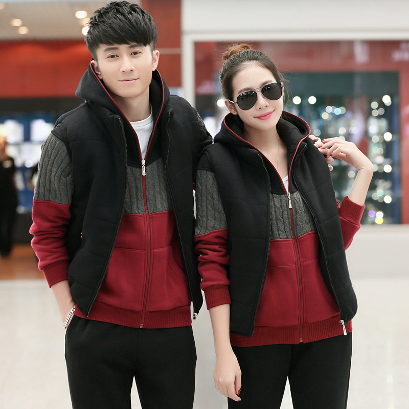 Spring and autumn and winter carlo wolf casual clothes new three sets of clothes lovers hooded track suit sportswear for men and women size code