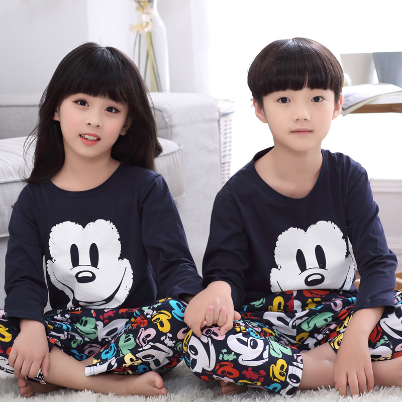 Spring and autumn boy cartoon children's pajamas long sleeve cotton pajamas boys girls big boy child children tracksuit suit