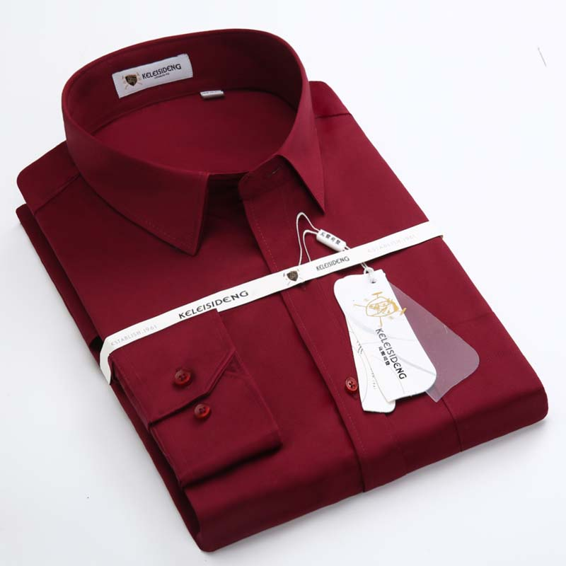 Spring and autumn cotton men long sleeve shirt iron cotton men and groom wedding burgundy shirt mercerized cotton clothing inch