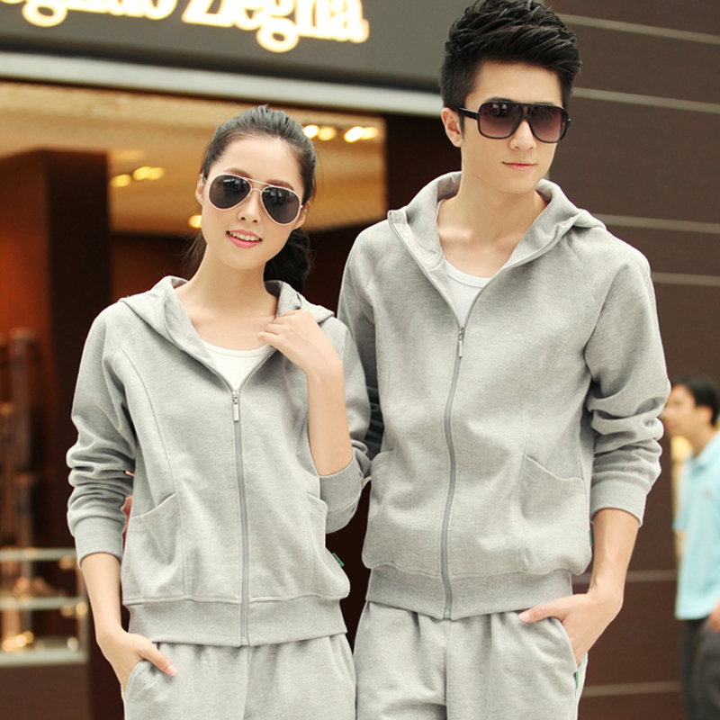 Spring and autumn lovers hooded sweater sportswear casual korean version of the new large size men and women long sleeve casual clothes sports suit