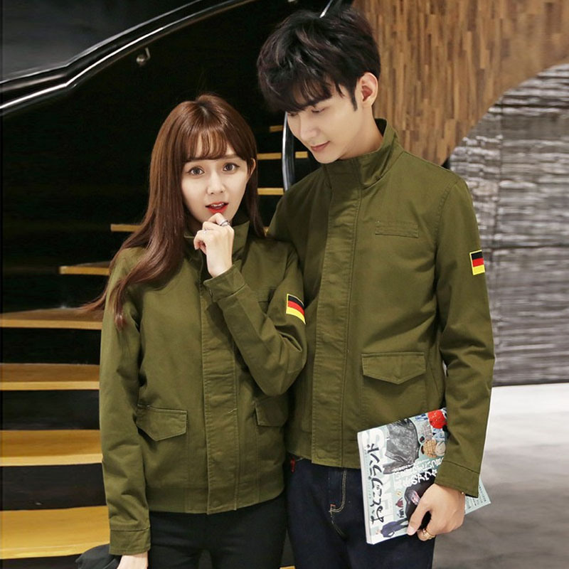 Spring and autumn lovers jacket army green casual jacket collar slim thin dark placket jacket for men and women armbands