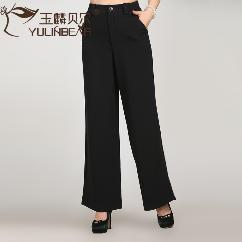 Spring and autumn middle-aged middle-aged high waist pants loose wide leg pants culottes large size women's middle-aged mother dress autumn long pants