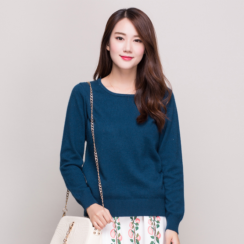 Spring and autumn new v-neck cashmere sweater women sweater bottoming hedging round neck short paragraph slim paul warm sweater large yard