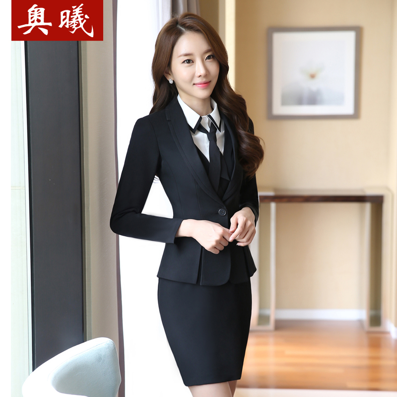 Spring And Autumn Wear Skirt Suits Business Las Long Sleeve Dress Vest Overalls