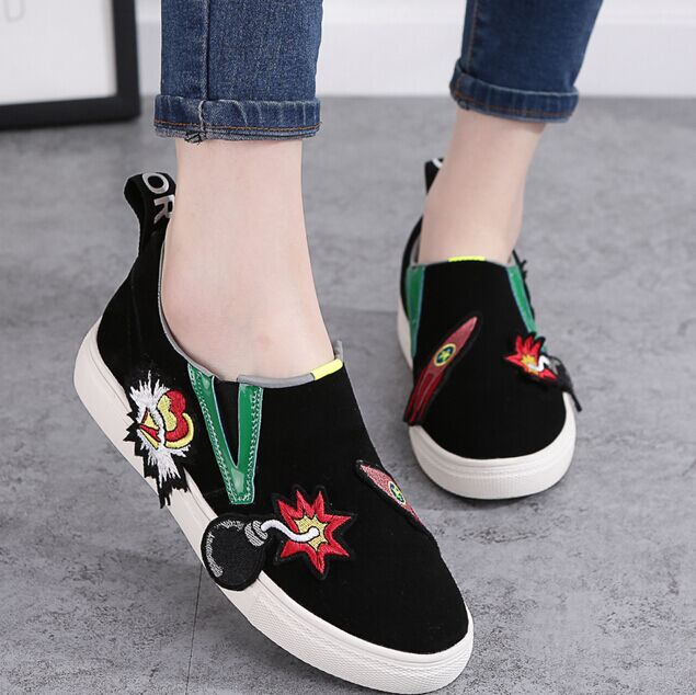 Spring and summer 2016 new men's leather loafers women flat shoes set foot thick crust casual shoes student shoes loafers Shoes women shoes