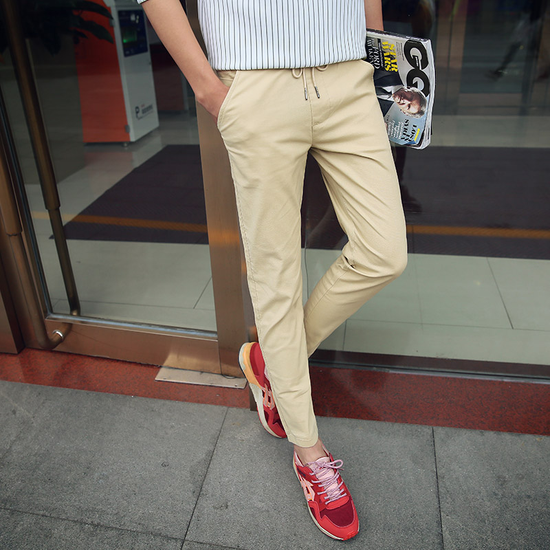 Spring and summer casual pants male solid color slim feet stretch pants pantyhose lace elastic waist trousers men's casual pants