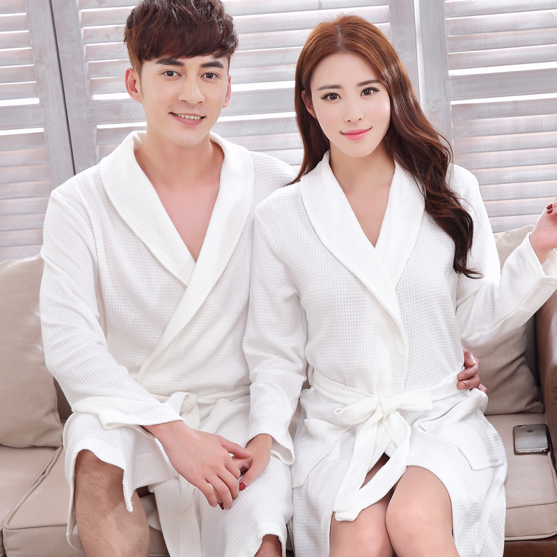 Spring and summer cotton waffle bathrobe couple nightgown female cotton long sleeve xl men women cotton nightgown pajamas tracksuit