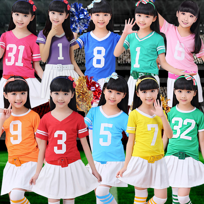 Spring and summer daughter child models cheerleading football baby clothing clothing cheerleading cheerleader parade performances costumes