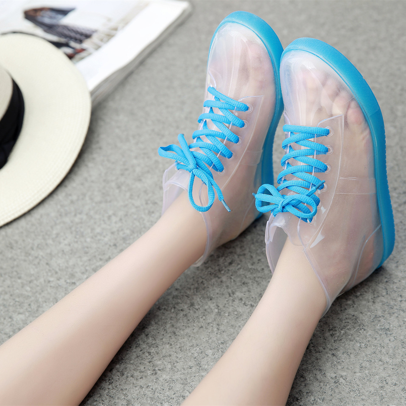 94e78e0fc Get Quotations · Spring and winter yourgumbootsand transparent candy with  flat duantong rain boots female korean students slip rubber