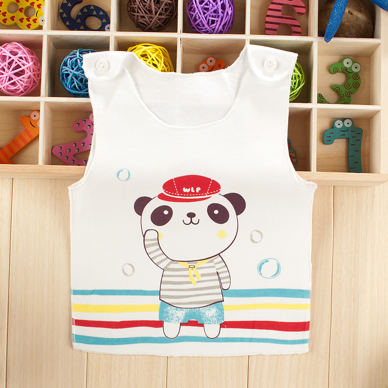 Spring baby vest vest for men and women outside seam baby infants and young children's spring and autumn shoulder buckle cotton underwear bottoming vest