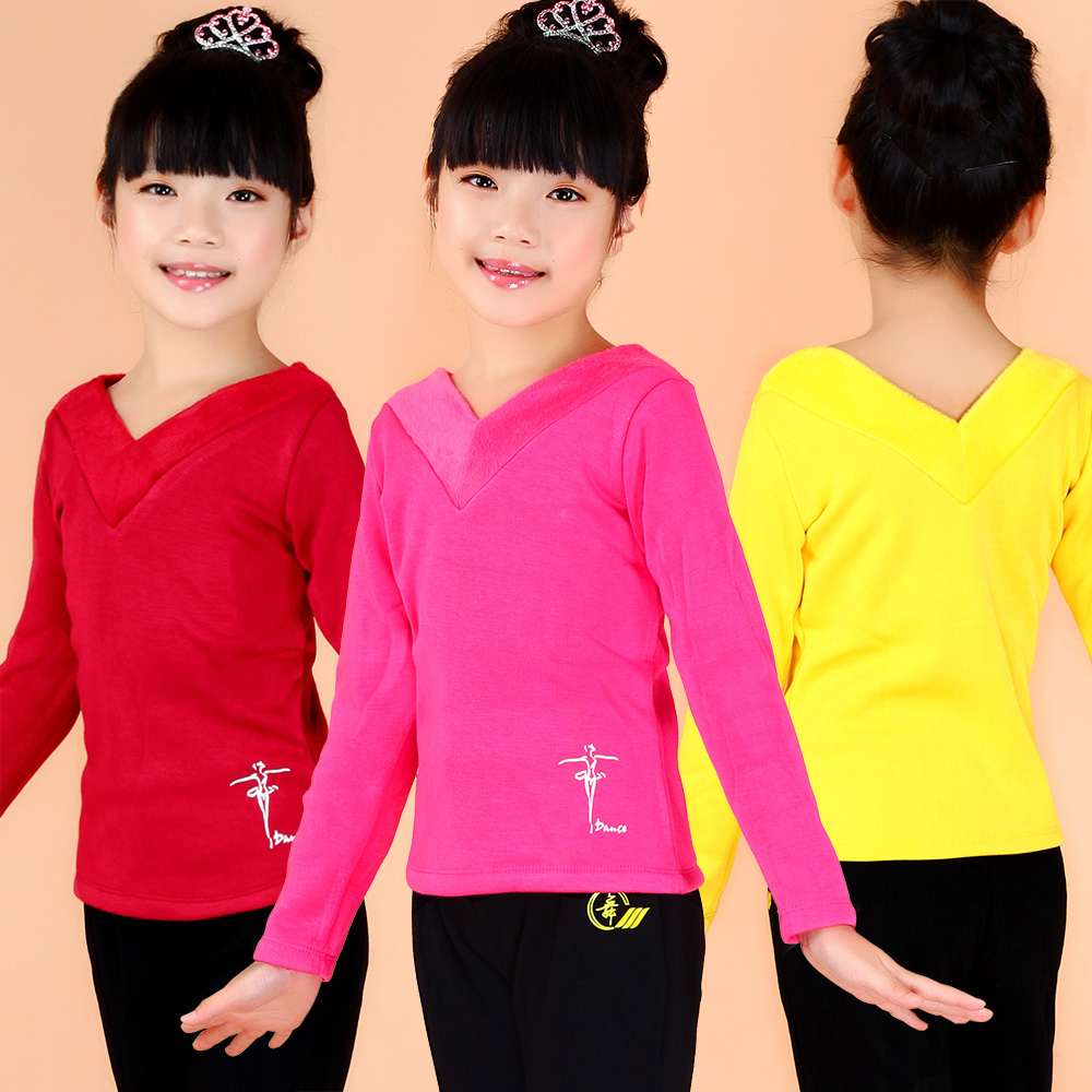 Spring children's dance clothing girls clothes and children dance clothes dance clothes plus thick velvet autumn and spring black