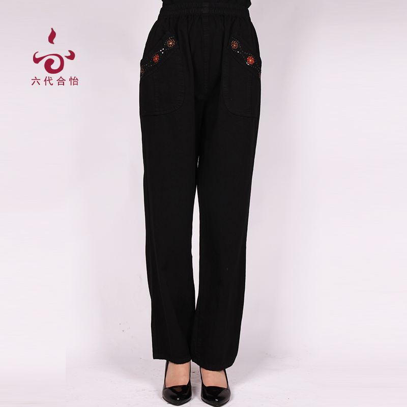 Spring middle-aged female elastic pants pants elderly middle-aged middle-aged mom pants pants trousers spring and autumn cotton