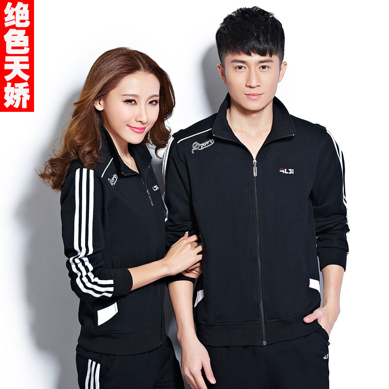 Spring models cotton spring and autumn coat middle-aged middle-aged sports suit middle-aged men and casual sportswear couple big yards female