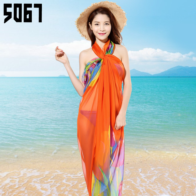 Spring wild female long section chiffon scarf scarf spring and summer sun beach towel scarf multifunctional variety shawl can