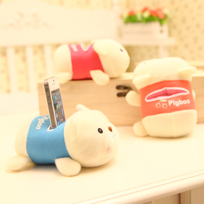 Square bear bear plush toy mobile phone holder 3 colors creative cartoon mobile phone holder phone holder doll wedding gifts
