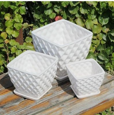 Square white ceramic pots modern minimalist creative large earthenware pots with a hole with a tray