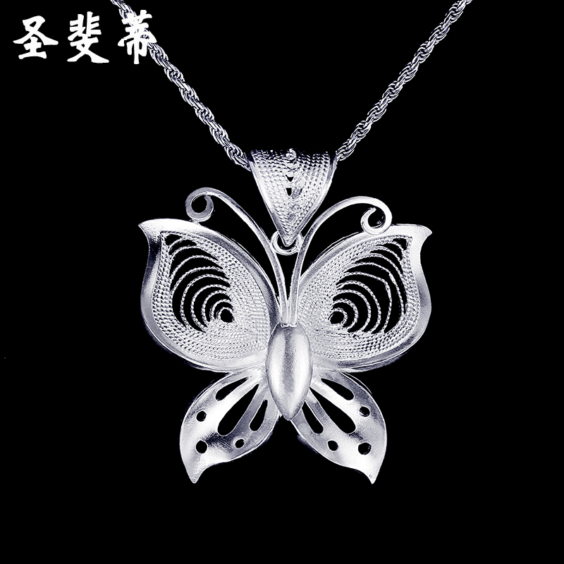 St. fei di original national wind 990 handmade sterling silver butterfly pendant necklace decorated female long sweater chain fashion with