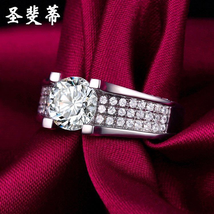 St. fei di simulation diamond wedding ring on the ring couple ring simulation minimalist japanese and korean female ring finger ring jewelry gift