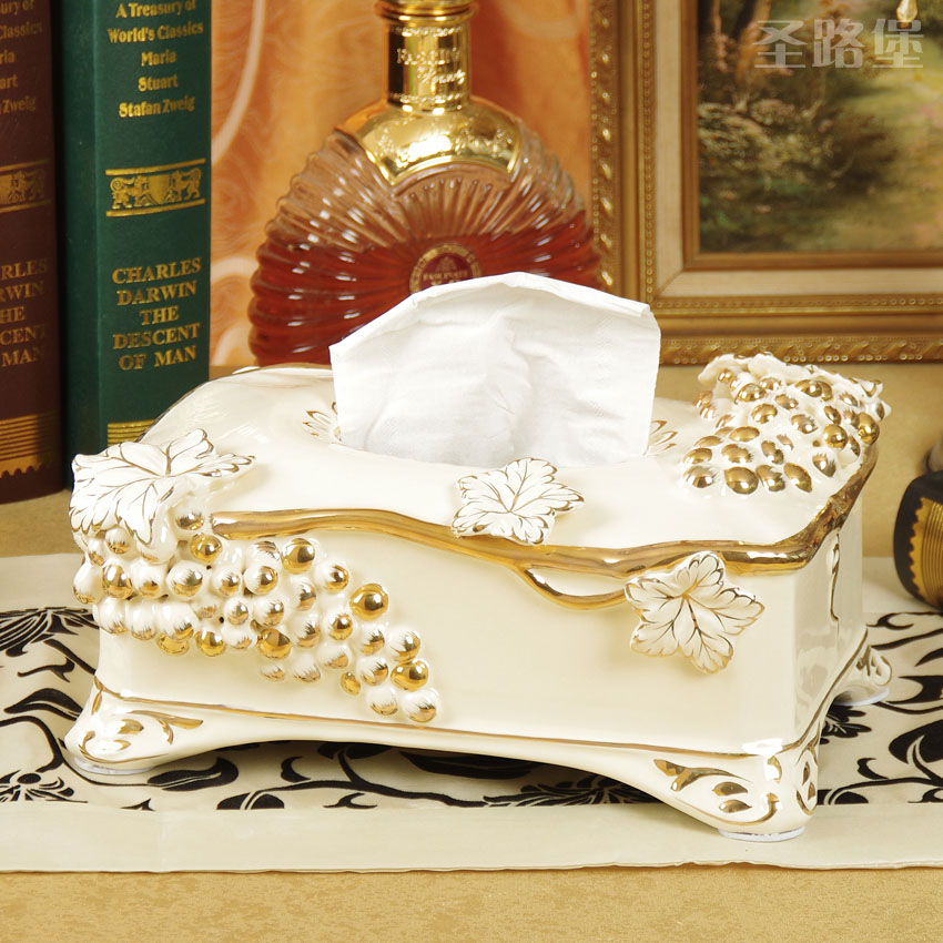 St. lu fort relief gilt european ceramic tissue box tissue box storage box creative living room decorative ornaments free shipping