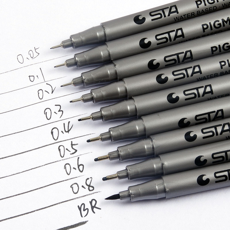 Sta starr art drawing pens hook line pen scanning line pen sketch pen soft head hard head 0.05-0.8mm