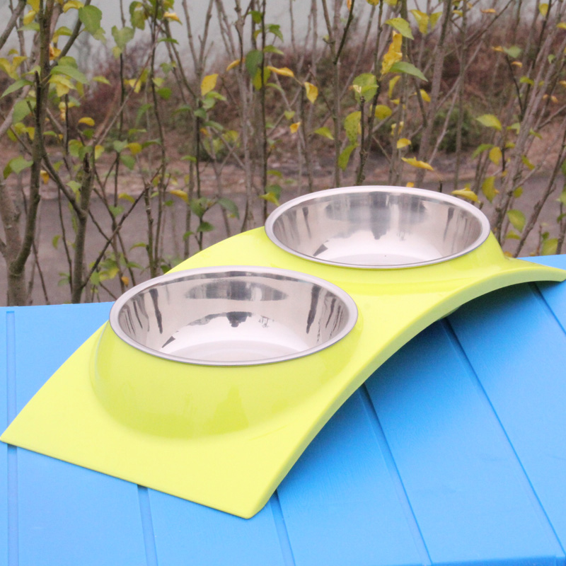 Stainless steel dog bowl double bowl pet bowl dog bowl pet water bowl stainless steel bowl pet utensils thick 304 stainless steel bowl