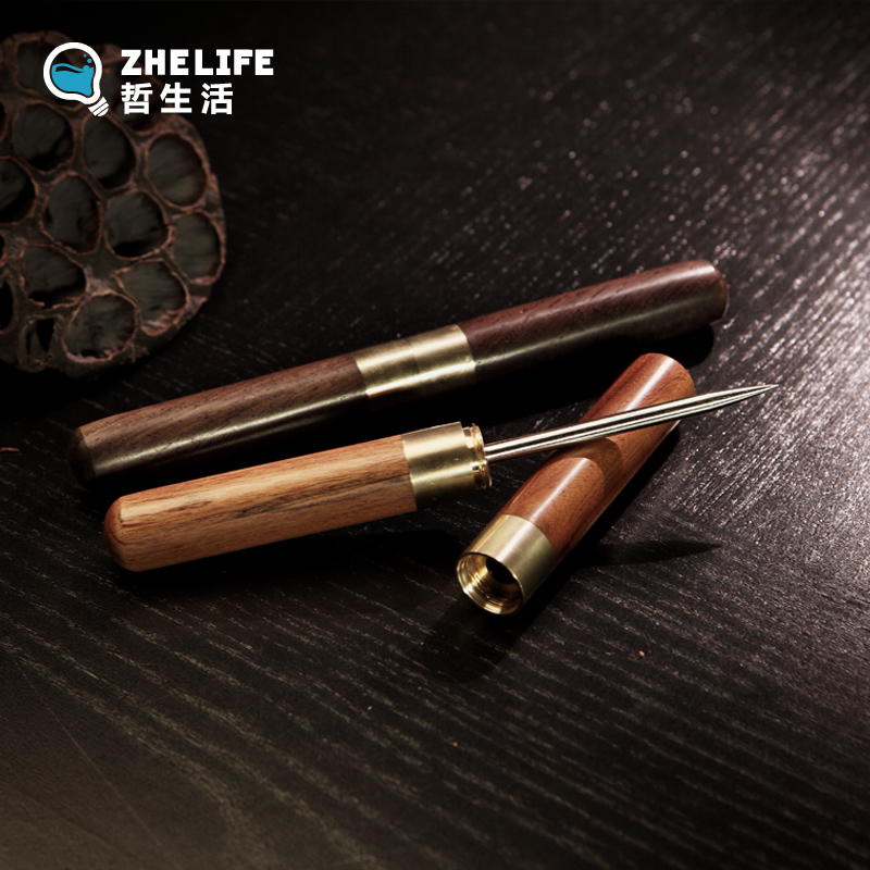 Stainless steel knife pu'er tea needle bevel ebony rosewood pen raised pot pen tea tea tea with zero Tea brush
