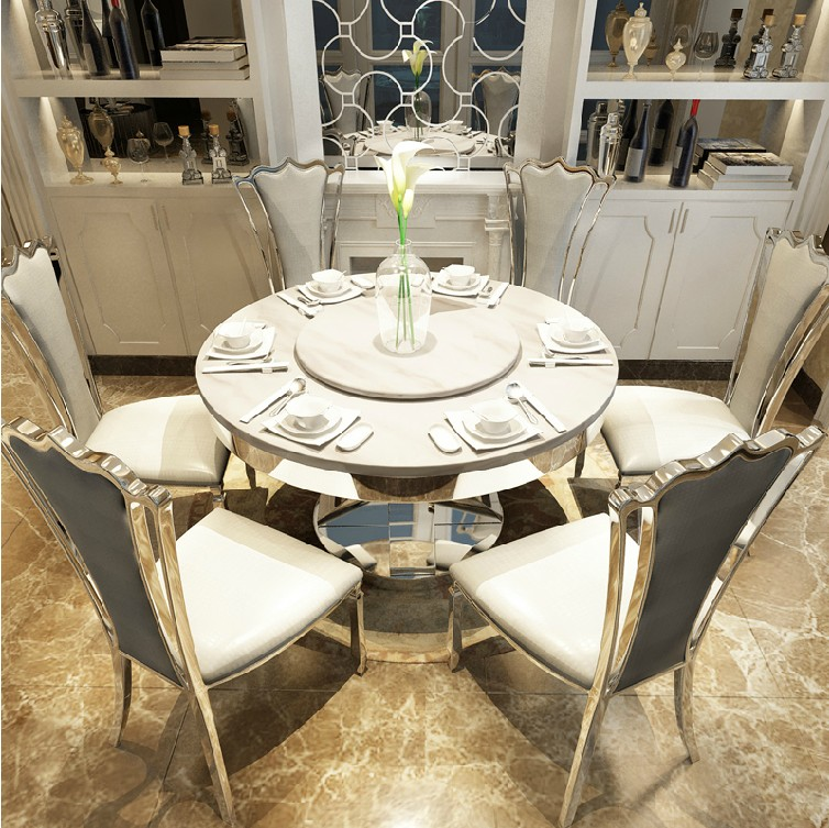 Get Quotations Stainless Steel Marble Dining Table Dinette Combination Of Modern Size Apartment European Round