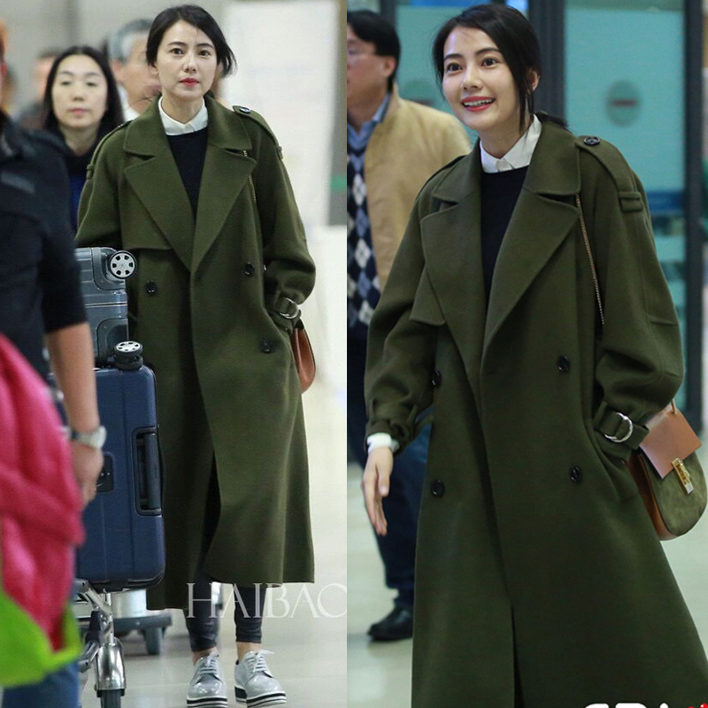 Star gao yuanyuan same paragraph korean army green woolen coat jacket female long section sided woolen winter women