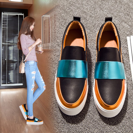 Star of the same paragraph thick crust leather loafers shoes women shoes platform shoes spell color sets foot shoes casual shoes sport shoes