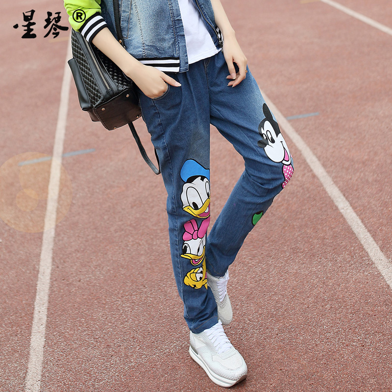 Star piano girls spring new girls elastic stretch jeans embroidered denim trousers high school students