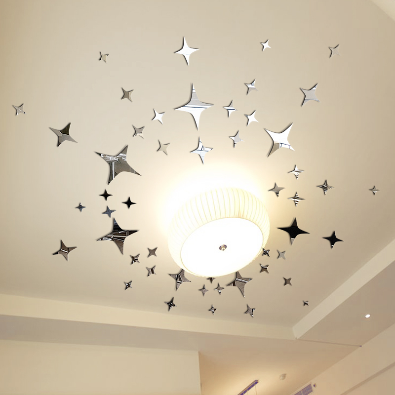 Stars 3d Reflective Mirror Dimensional Wall Stickers Living Room Bedroom Ceiling Decoration Backdrop