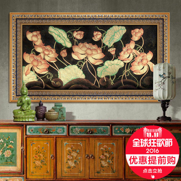 Station shangdong nan yatai style gold leaf painting pure hand painted oil painting upscale villa decorative painting mural paintings