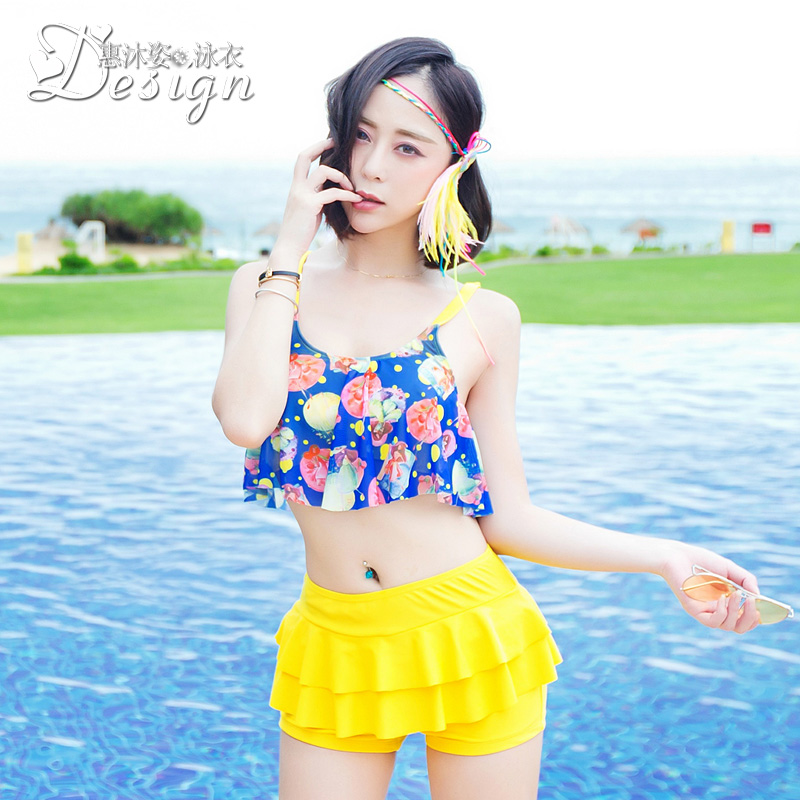 Steel prop gather conservative female swimsuit 2016 korean version of the new split was thin boxer swimsuit cover the belly hot springs swimsuit fashion