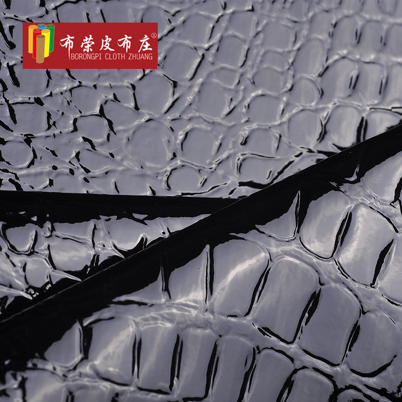 Stone artificial stone grain pu leather crocodile pattern leather diy handmade leather fabric glossy material hard
