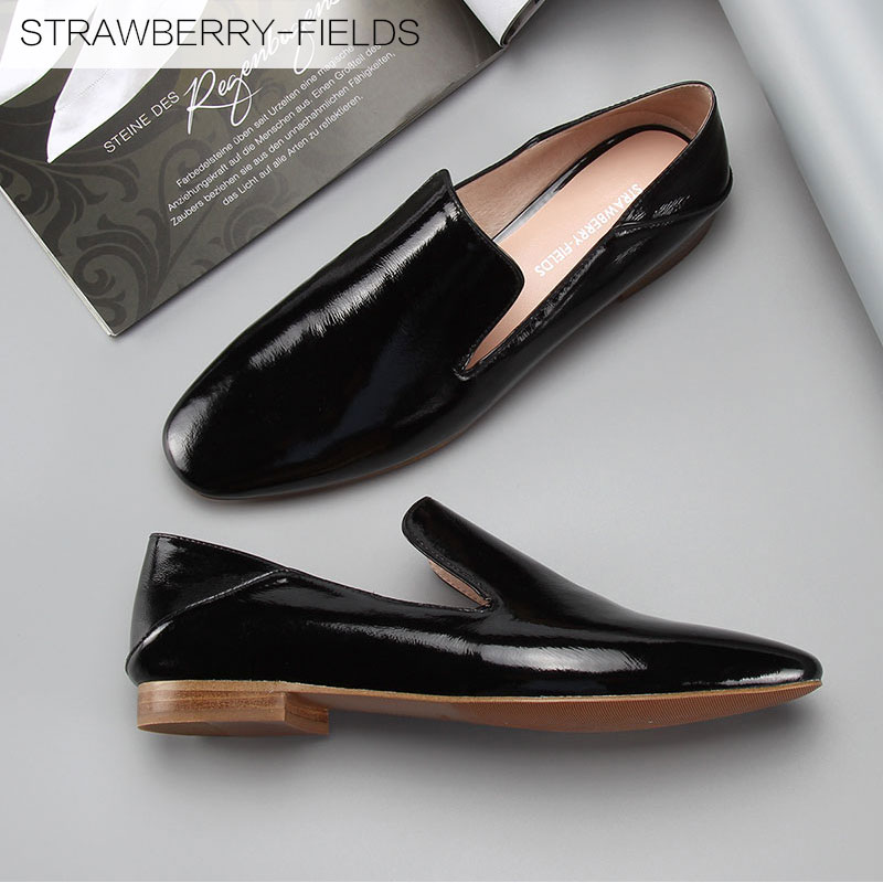 STRAWBERRY-FIELDS/strawberry smoking with first layer of leather shoes with square head flat comfortable shoes women's singles